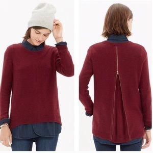 Madewell Palisade Burgundy Zipper Back Sweater